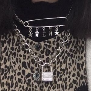 Custom punk silver chain safety pin necklace